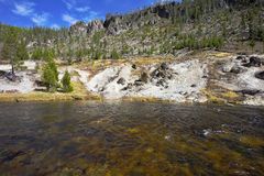 The Gibbons-river. The superficial Gibbons-river in Yellowstone national park Stock Image