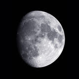 Gibbous Moon. The Gibbous Moon photographed with the digital camera mounted on a telescope. The rim of the Aristarchus Crater is lit on the left hand side Royalty Free Stock Photos