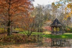 Gibbs Gardens, Ball Ground, Georgia USA 11/16/2018 in autumn stock image