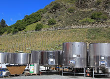 Gibbston Valley Winery. Stainless steel canisters at the Gibbston Valley Winery on the south island of New Zealand Stock Images