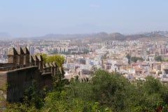 Gibralfaro城堡和马拉加鸟瞰图在安大路西亚,西班牙 库存图片