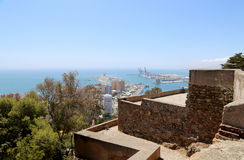 Gibralfaro castle and aerial view of Malaga in Andalusia, Spain Royalty Free Stock Photography
