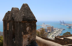 Gibralfaro castle and aerial view of Malaga in Andalusia, Spain Royalty Free Stock Photos