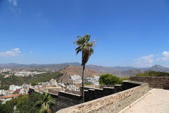 Gibralfaro castle and aerial view of Malaga in Andalusia, Spain Royalty Free Stock Images