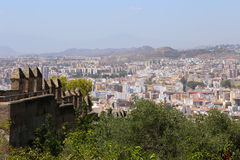 Gibralfaro castle and aerial view of Malaga in Andalusia, Spain Stock Images