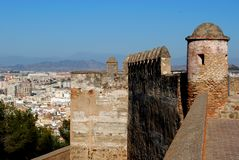 Gibralfaro castle, Malaga, Spain. Gibralfaro castle (Castillo de Gibralfaro) with view over the coast, Malaga, Costa del Sol, Malaga Province, Andalusia, Spain Stock Photos