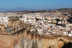 Gibralfaro castle, Malaga, Spain. Gibralfaro castle (Castillo de Gibralfaro) battlements with views over the city, Malaga, Costa del Sol, Malaga Province Stock Images