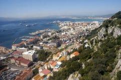Gibraltar. Birdview over Gibraltar seen from the rock Stock Images