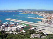 Gibraltar airport. An aerial view of Gibraltar airport from the top of Gibraltar Rock Stock Image