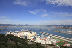 Gibraltar Airport and Harbor. Gibraltar Airport runway and Harbor Stock Images