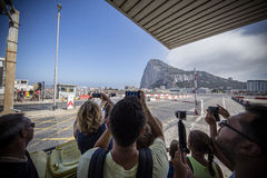 Gibraltar airport takeoff Stock Photo