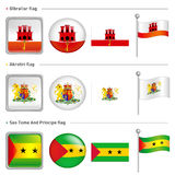 Gibraltar and Akrotiri, Sao Tome And Principe  Flag Icon. The wo Stock Image