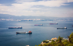 Gibraltar Bay and town, southern Spain on the horizon. Royalty Free Stock Photo