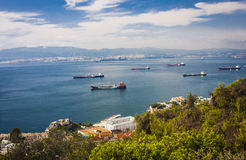 Gibraltar Bay and town, southern Spain on the horizon. Royalty Free Stock Images