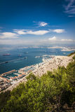 Gibraltar Bay and town, southern Spain on the horizon. Stock Photos