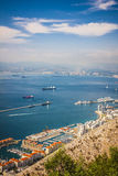 Gibraltar Bay and town, southern Spain on the horizon. Stock Photo
