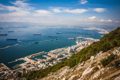 Gibraltar Bay and town, southern Spain on the horizon. Stock Image