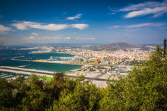 Gibraltar Bay and town, southern Spain on the horizon. Royalty Free Stock Photos
