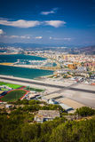 Gibraltar Bay and town, southern Spain on the horizon. Stock Images