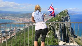 Gibraltar British flag stock video