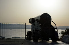 Gibraltar Cannon. Historical cannon overlooking the Bay of Gibraltar, based on the Rock of Gibraltar. Sited on the Military Heritage Center, Upper Rock Stock Photo