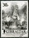 GIBRALTAR - 2001: Die Schlacht von Trafalgar am 21. Oktober 1805, 200 Jahre des Gibraltars zeichnen auf Stockfotografie