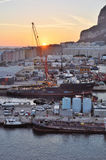 Gibraltar Docks Sunrise Stock Photography