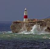 Gibraltar-Europa punt Lightho Royalty-vrije Stock Foto's