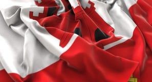 Gibraltar Flag Ruffled Beautifully Waving Macro Close-Up Shot Stock Photos
