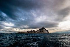 Gibraltar från havet Arkivbild