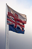 Gibraltar Great Britain and European Union. Flag of Gibraltar, Great Britain and European Union Royalty Free Stock Images