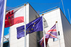Gibraltar Great Britain European Union flags Royalty Free Stock Photo