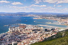 Gibraltar harbour. Overlooking Spanish mainland royalty free stock photos