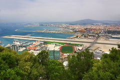Gibraltar harbour overlooking Spanish mainland Royalty Free Stock Images