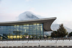 Gibraltar International Airport. GIBRALTAR, UK - OCT 20, 2016: New modern terminal building of the Gibraltar International Airport illuminated at dusk Royalty Free Stock Photos