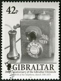 GIBRALTAR - 2001: Invention of the telephone 10 March 1876, by Alexander Graham Bell, 200 Years of the Gibraltar Chronicle Royalty Free Stock Photo