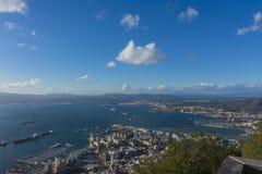 Gibraltar and La Línea, at Algeciras bay stock photo