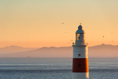 Gibraltar Lighthouse at Sunset Stock Photos