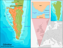 Gibraltar map Royalty Free Stock Images