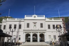Gibraltar Parliament on John Mackintosh Square. Gibraltar Royalty Free Stock Photo