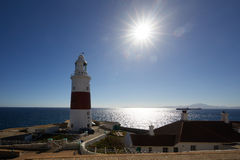 Gibraltar, points of interest in the British overseas area on the southern spit of the Iberian Peninsula,. Lighthouse of Gibraltar against the sun, Gibraltar royalty free stock photo