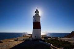 Gibraltar, points of interest in the British overseas area on the southern spit of the Iberian Peninsula,. Lighthouse of Gibraltar against the sun, Gibraltar royalty free stock photos