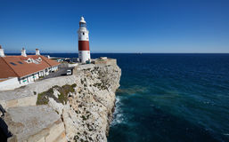 Gibraltar, points of interest in the British overseas area on the southern spit of the Iberian Peninsula,. Lighthouse of Gibraltar, Gibraltar Trinity Lighthouse royalty free stock photography