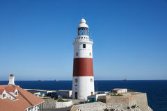 Gibraltar, points of interest in the British overseas area on the southern spit of the Iberian Peninsula,. Lighthouse of Gibraltar, Gibraltar Trinity Lighthouse royalty free stock image