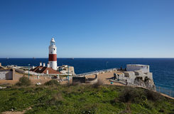 Gibraltar, points of interest in the British overseas area on the southern spit of the Iberian Peninsula,. Lighthouse of Gibraltar, Gibraltar Trinity Lighthouse stock photo