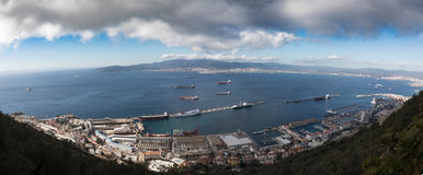 Gibraltar, points of interest in the British overseas area on the southern spit of the Iberian Peninsula,. Gibraltar, looking west from Upper Rock on the port royalty free stock photos