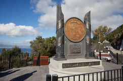 Gibraltar, points of interest in the British overseas area on the southern spit of the Iberian Peninsula,. Monument `Pillars of Hercules` at Upper Rock stock photos