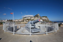 Gibraltar, points of interest in the British overseas area on the southern spit of the Iberian Peninsula,. Gibraltar, the 100-ton cannon at the southern tip of stock photo