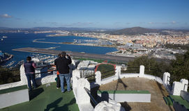 Gibraltar, points of interest in the British overseas area on the southern spit of the Iberian Peninsula,. Gibraltar, view from Upper Rock to the north, airport royalty free stock image