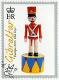GIBRALTAR - 2015: pokazuje zabawkarskiego żołnierza, serii Europa Stare zabawki zdjęcia stock